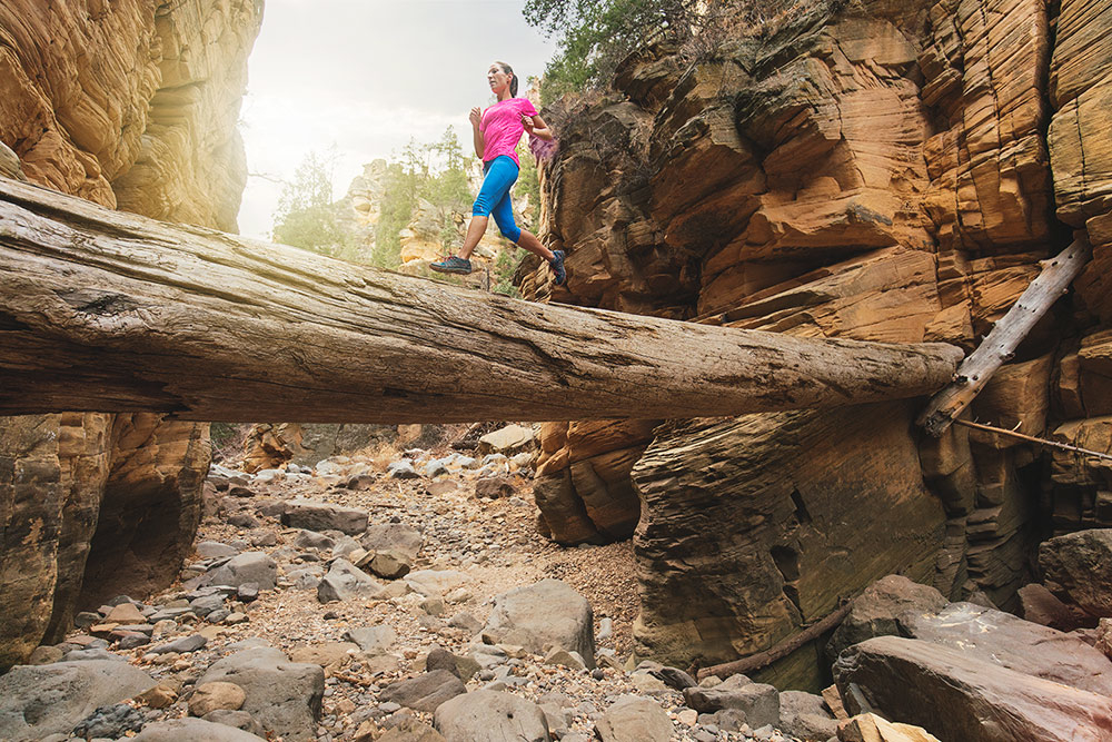 Trail running in the Pumphouse Wash with Missy Verhaeghe